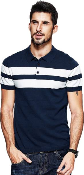 Fanideaz Striped Men's Polo Neck Blue T-Shirt