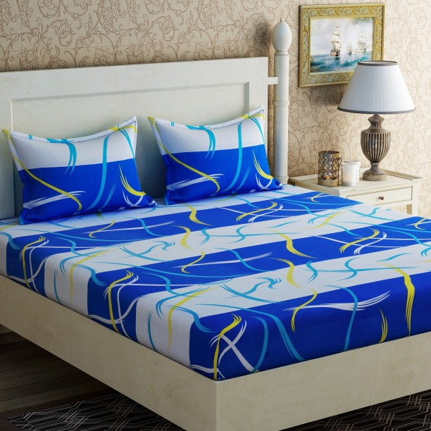 Lovely Zesture 104 TC Cotton Double Abstract Bedsheet