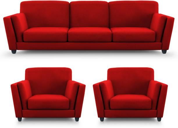 Adorn Homez Cabana Fabric 3 + 1 + 1 Red Sofa Set
