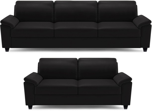 Dolphin Oxford Leatherette 3 + 2 Black Sofa Set