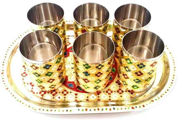 MoreUnic Beautiful Golden Meenakari Stainless Steel Glass Tray Set
