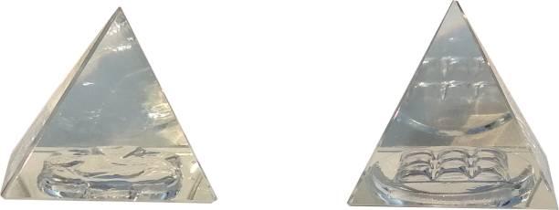 Mann Retails Crystal vastu pyramid for positive energy and vastu correction small size with Ganesh and Navgrah symbol Glass Yantra
