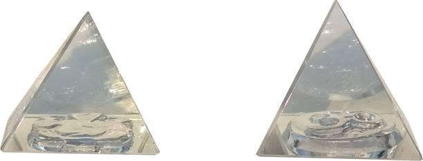 Mann Retails Crystal vastu pyramid for positive energy and vastu correction small size with Ganesh and OM symbol Glass Yantra