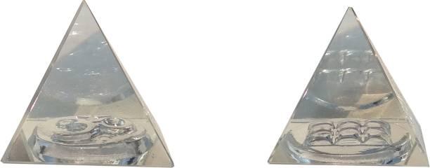 Mann Retails Crystal vastu pyramid for positive energy and vastu correction small size with OM and Navgrah symbol Glass Yantra