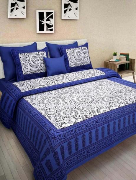 Beau Jaipuri Cotton 350 TC Cotton Double King Printed Bedsheet