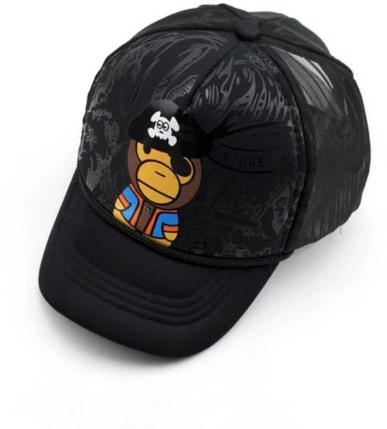 ae4e92e3ae4 Friendskart Printed Half Net Baseball Cap Front Side Printed Monkey In Black  Colour For Boys And