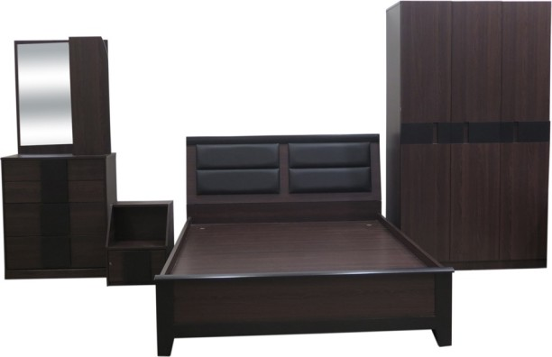 Eros Engineered Wood Bed + Side Table + Wardrobe + Dressing Table
