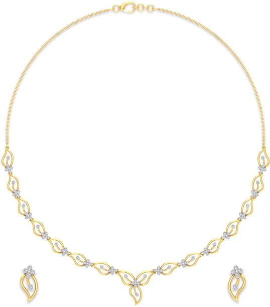 P N Gadgil Jewellers Yellow Gold Nature Love 18kt Diamond Earring Necklace Set