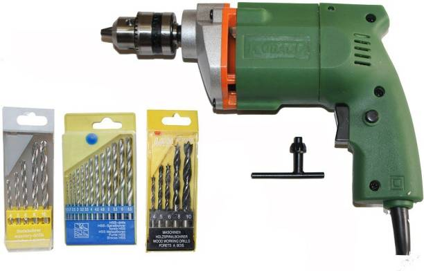 Digital Craft Powerful 10Mm Drill Machine +13Pcs Hss Drill Set For Wood,Metal,Plastic & 5Pcs Masonary Drill Set For Wall,Concretes Pistol Grip Drill