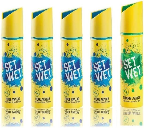 SET WET 4 Cool Avatar And 1 Charm Avatar ( Set of 5 _ Deodorant Spray  -  For Men