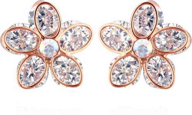 Spargz Crystal Flower Earring For Women Diamond Br Stud