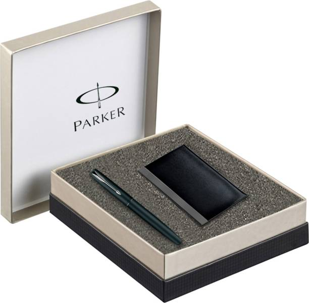 PARKER Frontier Matte Black CT with Card Holder Pen Gift Set
