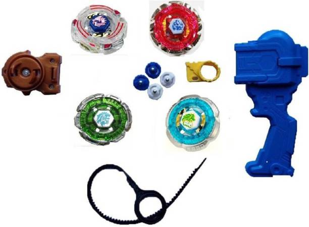 Tiny's World 4 in 1 Beyblades 4D/5D System Metal Fighters Fury with Metal Fight Ring and Handle Launcher Toy