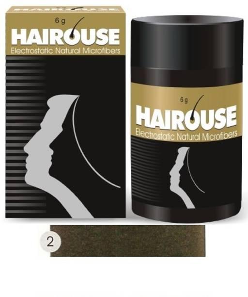 HAIROUSE Natural Hair Building Microfibers (Medium Brown) Medium Hair Volumizer Natural Fibers