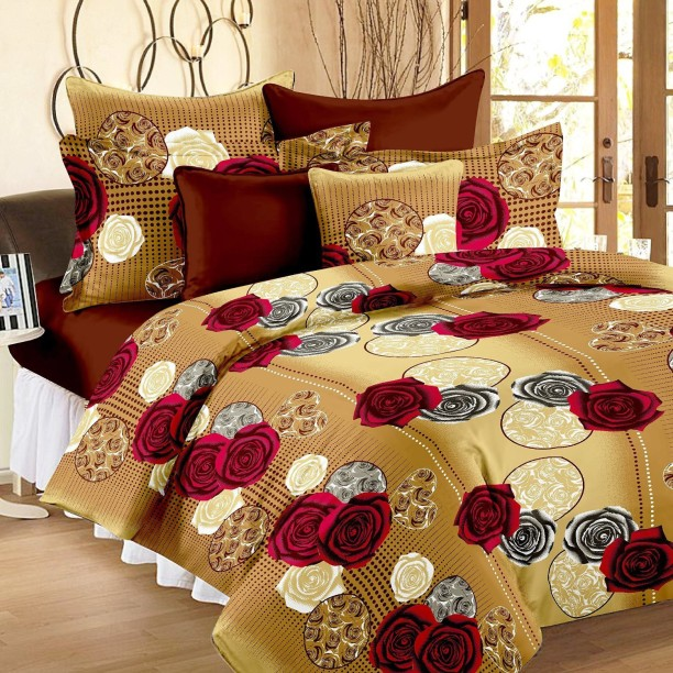 Ahmedabad Cotton 144 TC Cotton Double Floral Bedsheet