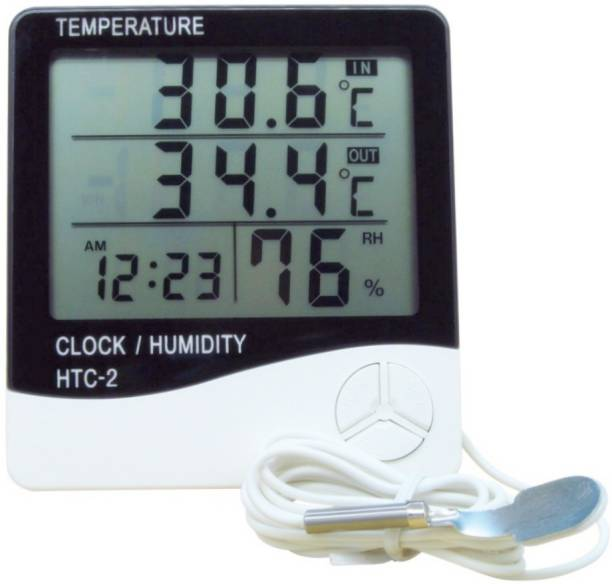 BalRama HTC-2 Hygrometer Electronic Thermo Hygro with External Sensing Probe Humidity Meter Tester + Temperature Meter + Alarm Clock + Time with Pin-Type Digital Moisture Measurer