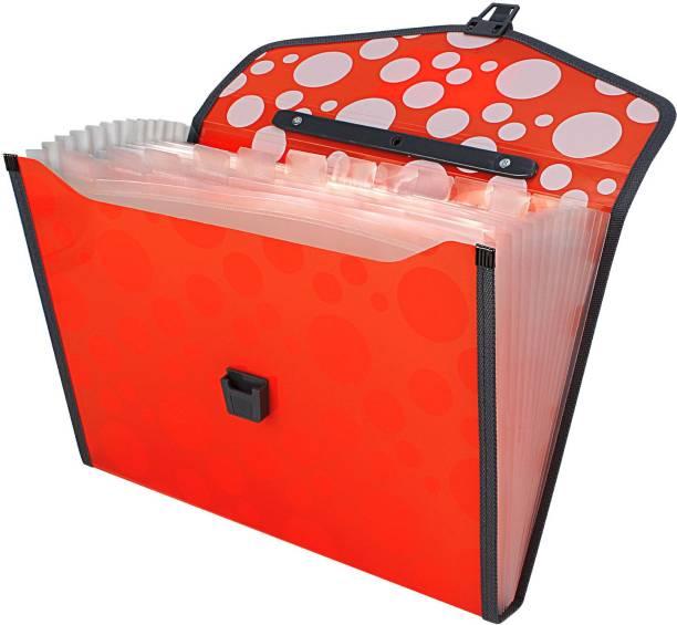 TRANBO Polypropylene Polka Dots File Folder with 13 Pockets, Handle, Index Tab, A4 Size, Orange