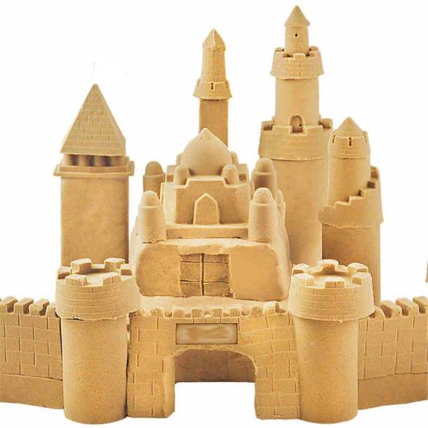 Gixmo Gixmo 350 Grams Random Color + 6 Castle Moulds Magic Kinetic Motion Sand For Boys & Girls Clay Replacement