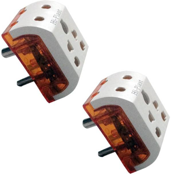 Hi-plast 3 Pin 5-Way Universal,Multiplug, Socket Connector-2pcs Worldwide Adaptor