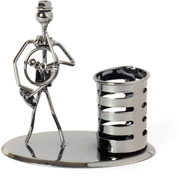 JEWEL FUEL 1 Compartments Iron Pen Stand and Musician Playing French Horn Table Top Showpiece