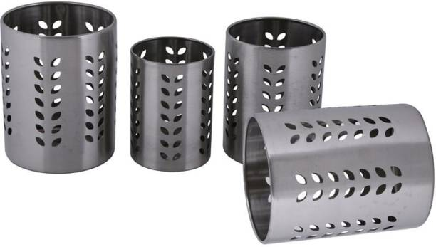 Dynore Set of 4 Leaf Cutlery Stand Stainless Steel Cutlery Set