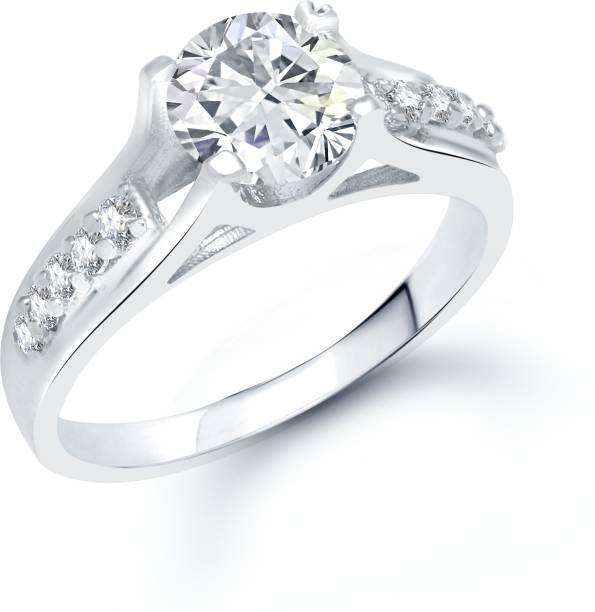 VK Jewels VK Jewels Glistening Rhodium plated solitare Ring Alloy Cubic Zirconia Rhodium Plated Ring