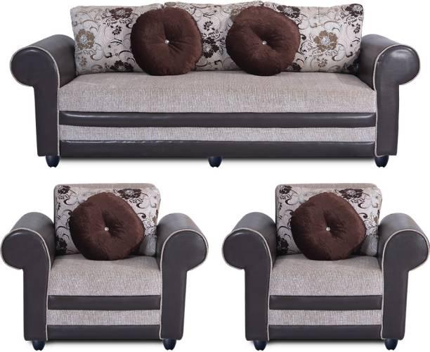 Bharat Lifestyle Alex Fabric 3 + 1 + 1 Cream Sofa Set