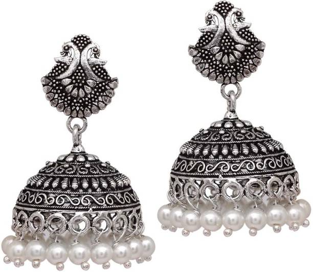 V L Impex 15 Grams Lovely Pea Oxidised Silver Plated Jewellery For Br Jhumki Earring