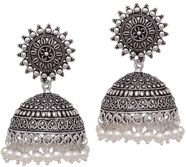 f55b773cd V L IMPEX Sun Shape Lightweight With Pearl Beads Silver Plating Oxidised  Brass Jhumki Earring
