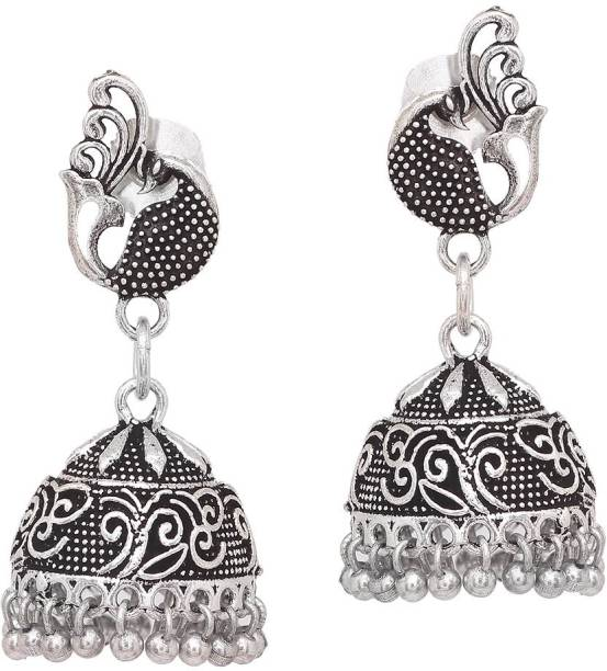83dc23c3e V L IMPEX Designer Peacock Theme Black Metal Oxidised silver Plated  Jewellery For Brass Jhumki Earring