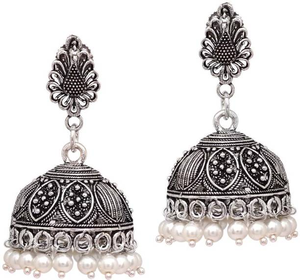 d89c10ee6 V L IMPEX Peacock Fashion Oxidized Silver Plated Designer With Pearl Beads  Lightweight Brass Jhumki Earring