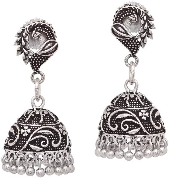 4cafb9e20 V L IMPEX Jipur Made Stylish Peacock Look Oxidised silver Plated Jewellery  For Brass Jhumki Earring