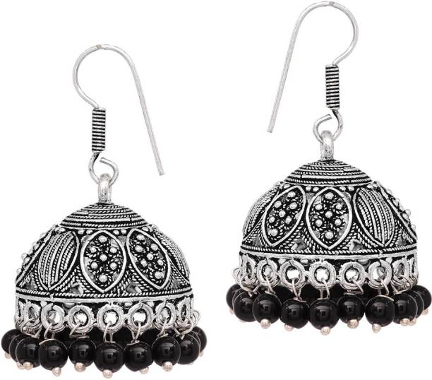 175f99095a V L IMPEX Indian Handmade Black Matel With Black Beads Silver Plating  Oxidised Brass Jhumki Earring