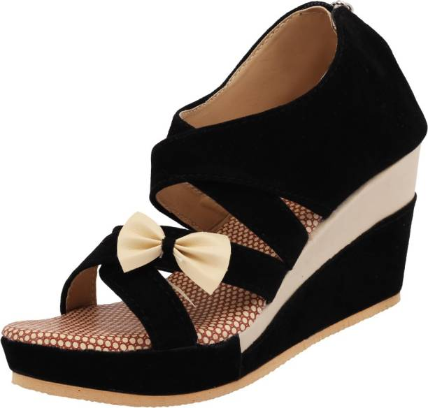 f482fb6833c1 Black Wedges - Buy Black Wedges online at Best Prices in India ...