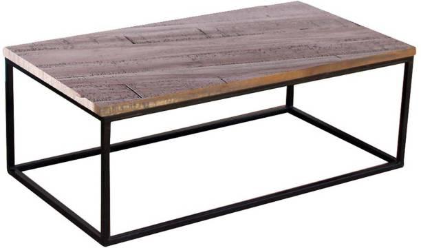 TimberTaste Iron Frame Rustic Wood Top CANTI Metal Coffee Table