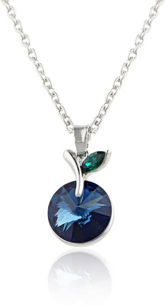 a8f588b0366a Mahi Round Emerald Montana Blue Rhodium Swarovski Crystal Alloy Pendant Set