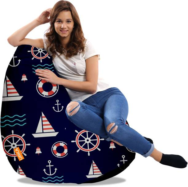 ORKA XXXL Sailor Digital Printed Teardrop Bean Bag  With Bean Filling
