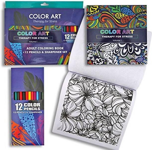 Fuji Stationery Adult Coloring Book W 12 Pencils Sharpener Vol 2