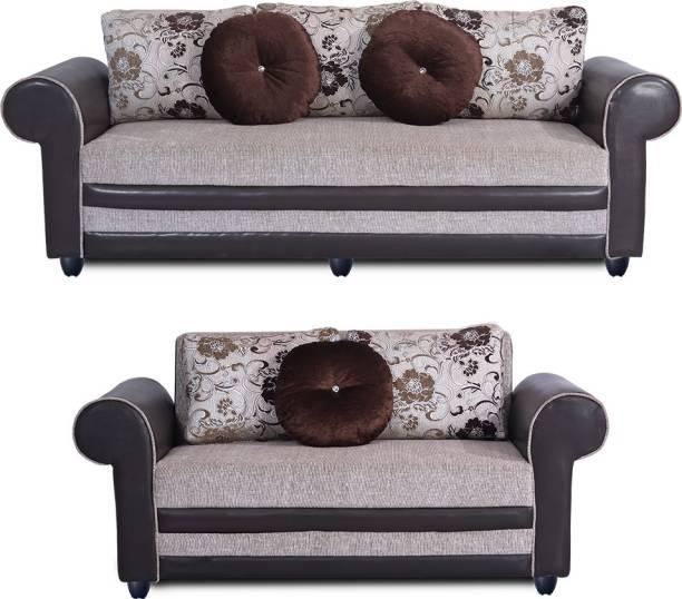 Bharat Lifestyle Alex Fabric 3 + 2 Cream Brown Sofa Set
