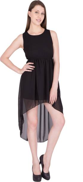 G & M Collections Women High Low Black Dress