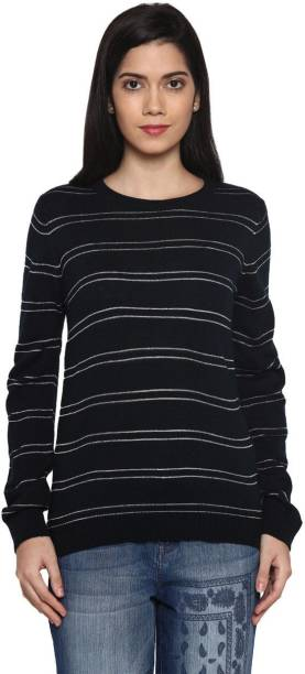 41590f07fa30 Annabelle by Pantaloons Casual Full Sleeve Striped Women s Dark Blue Top