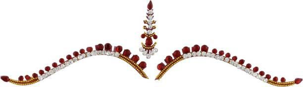 Vama Fashions Bridal Rhinestone Crystal for Dulhans Forehead Forehead Multicolor Bindis