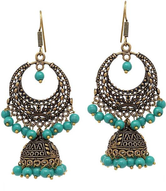 7ac92f0b1 V L IMPEX Dangal with Black Matel Gold Plating Oxidised with Turquoise  Color Beads Alloy Jhumki Earring