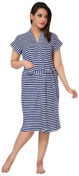 Superior Navy Blue Free Size Bath Robe
