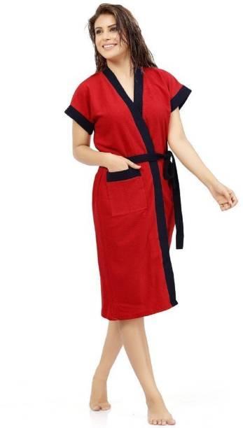 ELEVANTO Red Free Size Bath Robe