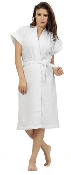 ELEVANTO White Free Size Bath Robe