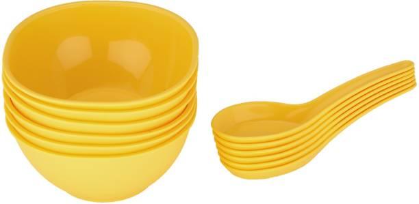 JAYPEE Le Dinner Set Soup Bowl Plain, Yellow Bowl, Spoon Serving Set