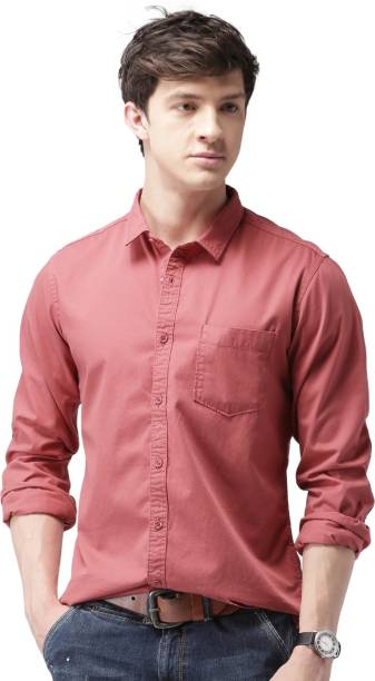 MAST & HARBOUR Men Solid Casual Red Shirt