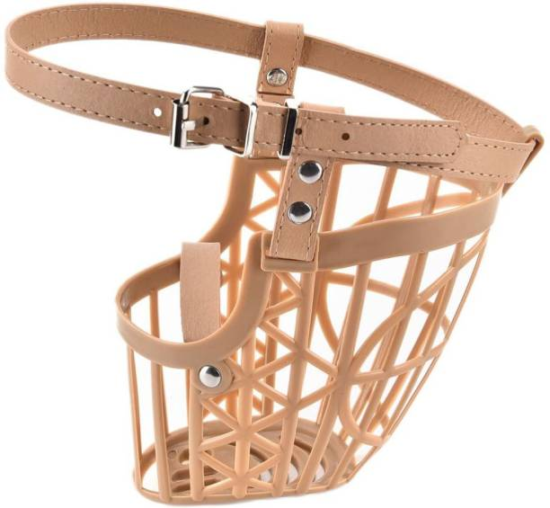 SRI High Quality Plastic Dogs Muzzle Basket Design Anti-biting Adjusting Straps Mask For Dog/Puppy (M) Medium Strips Dog Muzzle