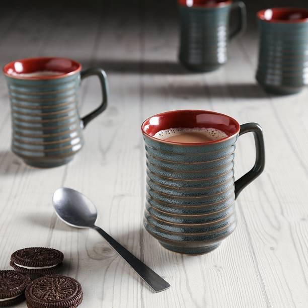 Unravel India Studio Ceramic Grey Coffee Cups Set Of 6 Mug